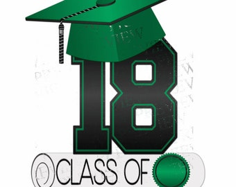 Class of 2018 clipart, MORE COLORS, green, black, graduation clip art, cap and diploma, clip art, graduation clip art, announcements, party