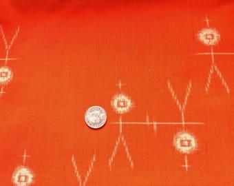 "Vintage Japanese wool kimono fabric 36"" x 14"" (92 cm x 36 cm) orange abstract people"