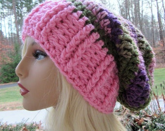 Slouchy Beanie, Slouch Hat, Crochet Hat, Chunky Slouch Hat, Pink, Boho, Winter Accessory, Gift for Her, Hair Accessory, Handmade,