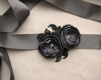Bridal sash dark gray Wedding dress belt Bridesmaid floral sash charcoal gray