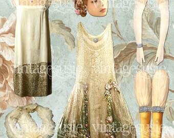 DAISY BUCHANAN Digital Paper Doll F Scott Fitzgerald Great GATSBY Collage Sheet digital download Flapper Art Deco