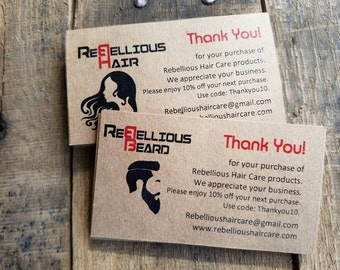 Custom Hair Nail Salon Beauty Salon Thank You Cards Promo Coupon Discount Card Codes Owners business store for Business Appreciation