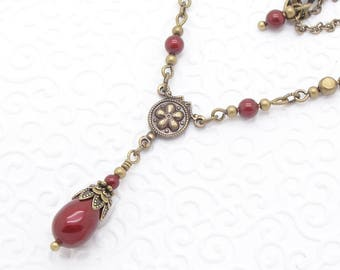 Red Victorian Necklace with Swarovski Pearl Teardrops in Bordeaux Wine Color