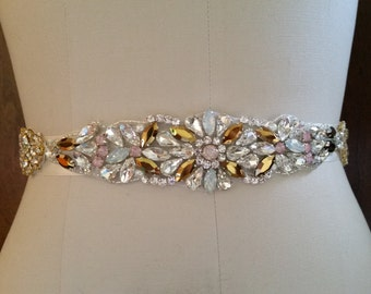 "Wedding Dress Sash Belt - Vintage Gem Stone Wedding Sash Belt = 15"" long"