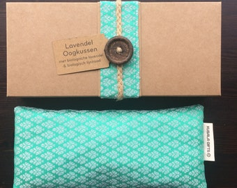 Lavender eye pillow with Indian silk cover - mint