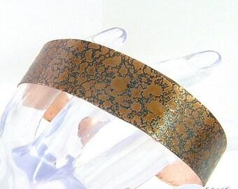 Bracelet manchette Silba - cuivre naturel patiné