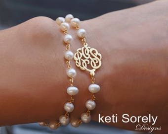 Double Pearl Bracelet with Monogram Initials - White Pearl Beaded Bracelet with Initials,  Sterling Silver, Yellow, Rose Gold