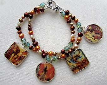 Fall Fairies and Fresh Water Pearls Charm Bracelet - Double Strand
