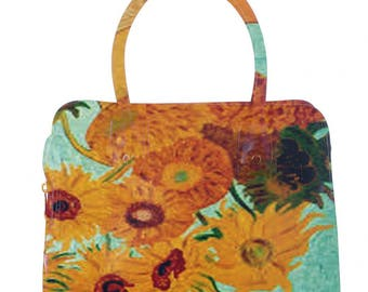 Eco-leather bag Van Gogh sunflower vase
