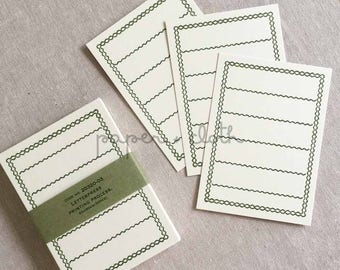 Classiky Green Border Blank Letterpress Note Cards