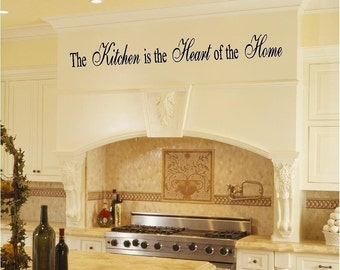 Kitchen Vinyl Wall Art Sign Decals - The Kitchen is the Heart of the Home - Removable Vinyl Wall Quote - by Katazoom