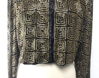 Vintage gold and black beaded jacket blazer  size Large