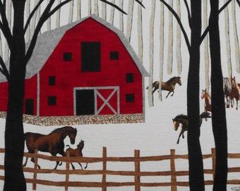 Red Barn in Snow Scene