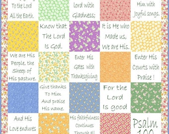SHOUT JOYFULLY --- Hand Embroidery E-Pattern Psalm 100 Quilt Printable Download Pdf DIY Free Shipping White Pastel 1930s Shabby Chic Text