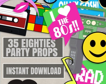 35 Eighties Printable Party Photo Booth Props, 80s photo props, I love 80s, rad photo booth props, eighties party props, instant download