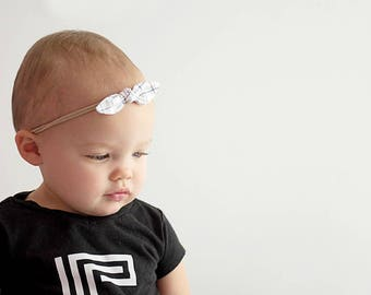 Baby Bow Headband, Baby Nylon Headband, Baby Hair Bow, Kids Hair Accessories, Toddler Headband, Monochrome Baby, Baby Girl Gift