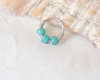 Turquoise Beaded Nose Hoop, Tragus Helix Orbital Cartilage Hoop Earring, 16g 18g or 20g Hoop, Endless Hoops