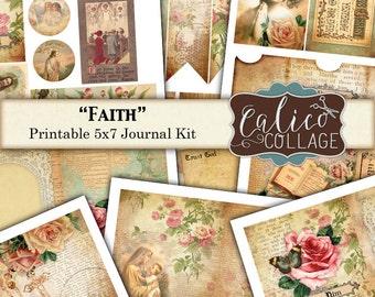 Glauben Journal Kit, Gebet Junk Journal, sofortiger Download, Jahrgang Bibel, CalicoCollage, bedruckbare Eintagsfliegen, Bibelverse, veränderte Art Kit