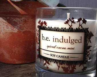 Spiced Cocoa Mint, Handcrafted Vegan Candle, smells like winter