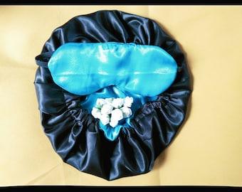 Matching reversible satin  hair bonnet with sleeping mask