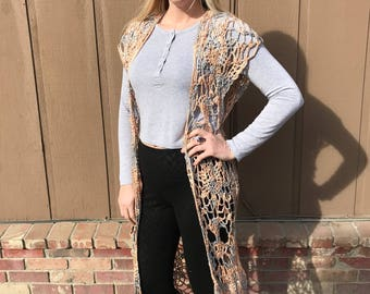 Ladies long lacy cardigan