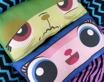 1 queasy kitty & Astro kitty Double-sided cotton pillow  11 x 20 inch super soft body pillow cushion cat face brick block - MADE TO ORDER