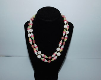 Gorgeous Double Strand Two Strand Vintage Pink and Iridescent White Beaded Adjustable Necklace Hong Kong