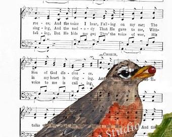 ROBIN  In The GARDEN Bird lovely Art Print© Religious Hymn 4x6, 5x7, or 8x10 Image Digital - INSTANT Digital Download