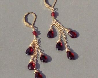 January Birthstone Earrings, Red Garnet Earrings, Long Dangle Earrings, January Birthstone Earrings