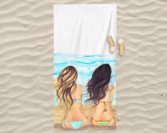 Beach Waves Towel (Fashion illustration- Melsy's Illustrations- Beach Towel - Princesses - Beach - Summer)