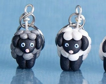 Sheep Polymer Clay Stitch Markers (flock of 4 miniature sculpted knit, crochet accessories)
