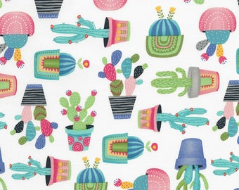 ON SALE  15% off 1/2 Yard Timeless Treasures  Fun Potted Cactus C5691