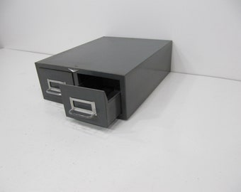 Double File Drawer, Vintage Metal File Draw, Card Catalog, Double Index Drawer with Locks, Metal Steelmaster Drawer, Industrial Storage