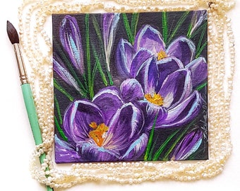 Purple crocuses small original acrylic painting home decor art flower lover gift for sister mother's day present housewarming floral