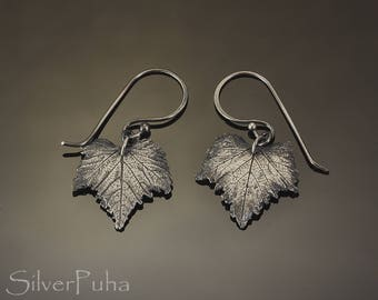 Lil Shiraz silver leaves earrings