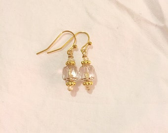 Clear and Gold Cathedral Glass and Faceted Hessonite Garnet Earrings on 14k Gold