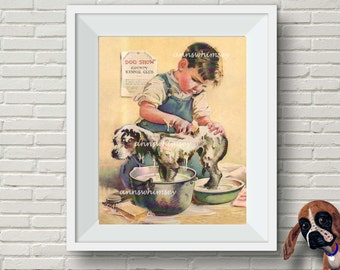 Bathroom Art Print, Boy's Room Art, Dog Art, Family Room Art, Boy Bathing Dog RESTORED Vintage Art #328
