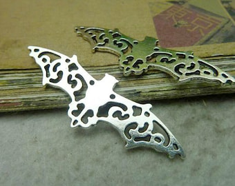 5 pcs 19X56mm antique Silver bats with wings and three loops connectors links charms pendants
