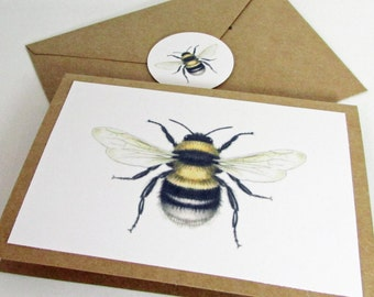 Eco Friendly Bee Thank You Cards, Bumble Bee Stationery, Scientific Bee Print, Bee Stationery for Beekeeper, Gift for Beekeeper, Queen Bee