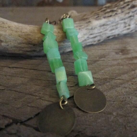 Beaded Earrings, Green Earrings, Green Stone Earrings, Stone Earrings, Earrings