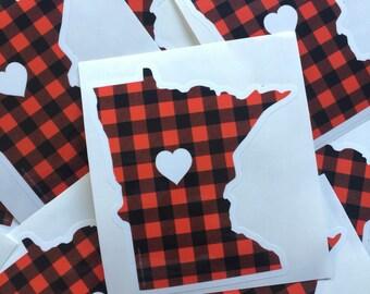 Minnesota Love Sticker - Minnesota Flannel Bumper Sticker Buffalo Check by Oh Geez Design