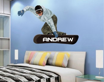 Snowboarder Wall Decal, Snowboarding Wall Art Sticker, Boys' Room Snowboarer Sticker, Snowboarding Wall Art Mural, Snowboarding Design, c41