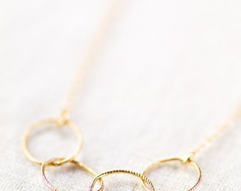 Kalei necklace - delicate gold necklace with infinity circle links, 14kt gold filled layering necklace, handmade by kealoha, maui, hawaii