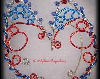 Fairy Ears Elf Ears Blue,Red, and Silver Unique