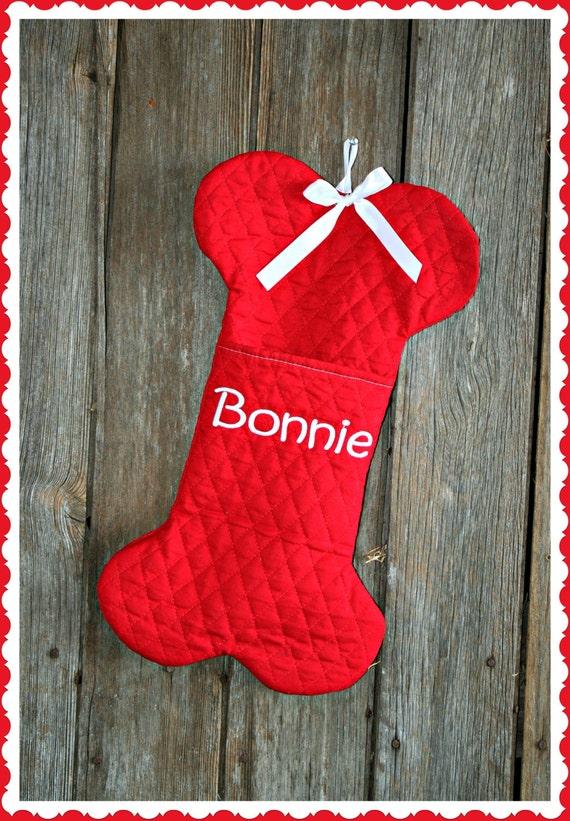 Custom Dog Bone Christmas Stocking with Pocket