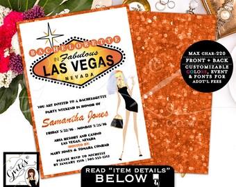 Las Vegas Invitation, vegas wedding, bachelorette party invitations, invites, las vegas wedding shower, glitz glam casino theme, 5x7.
