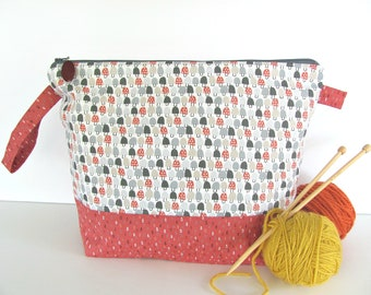 Toadstools Knitting Bag, Project bag, Crochet or Cross Stitch Bag, Gift for knitters, Large Zipper Pouch