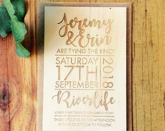 Wedding invitation - Timber wedding invitation - Text design - Pack of 10