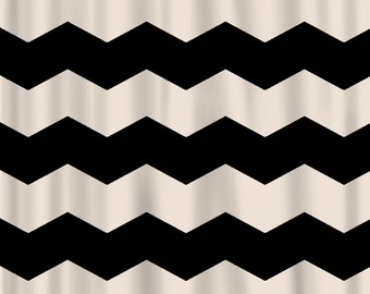 Custom Chevron Shower Curtain - Extra Wide 6 inch stripes - Available Any Color