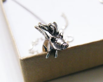 sterling silver flying pig charm